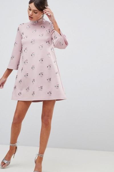 ASOS DESIGN All Over Embellished Shift Mini Dress