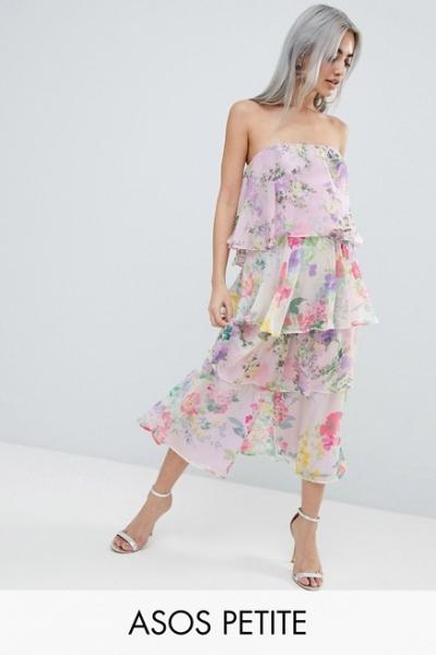 ASOS DESIGN Petite Tiered Jumpsuit In Mixed Florals