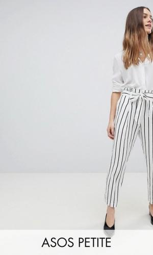 ASOS DESIGN Petite Tailored Casual Tie Waist Linen Peg Trousers