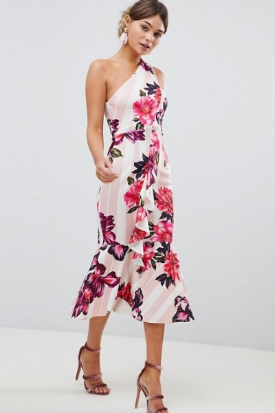 ASOS DESIGN One Shoulder Midi Dress With Floral And Stripe Print