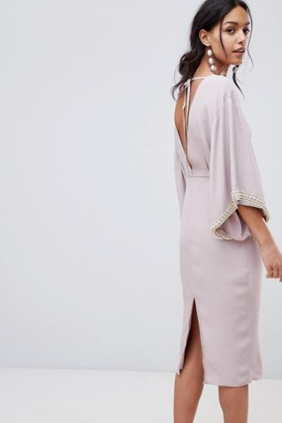 ASOS Embellished Kimono Midi Dress With Pearl Trim