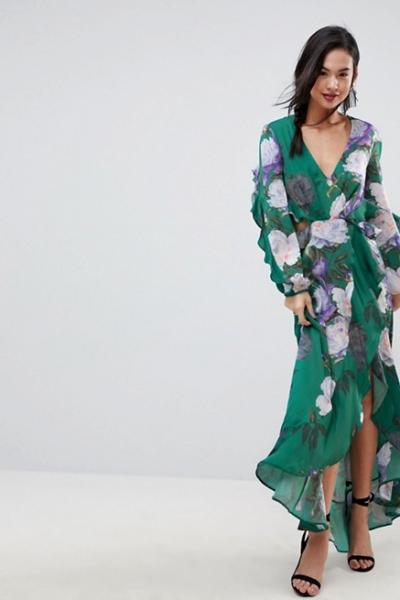 ASOS Floral Print Ruffle Maxi Dress