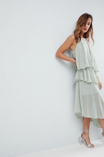 ASOS Glitter Spot Cami Midi Dress With Deconstructed Hem