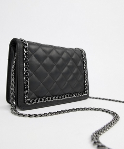 ASOS Leather Diamond Quilt Cross Body Bag With Chunky Chain Handle