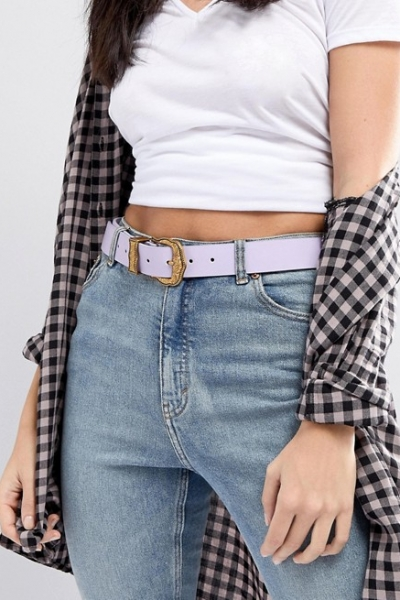 ASOS Lilac Western Belt With Old Gold Buckle