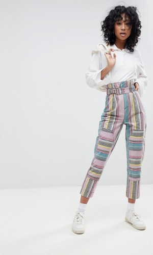 ASOS STEVIE High Waisted Peg Trousers In Stripe