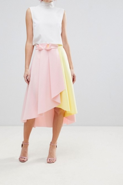 ASOS Scuba Prom Skirt With Wrap And Colour Block Detail