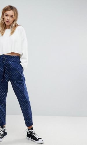 ASOS Soft Peg Trousers In Polka Dot