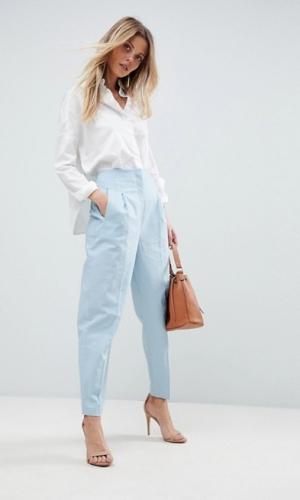ASOS Tailored Clean High Waist Linen Peg Trousers