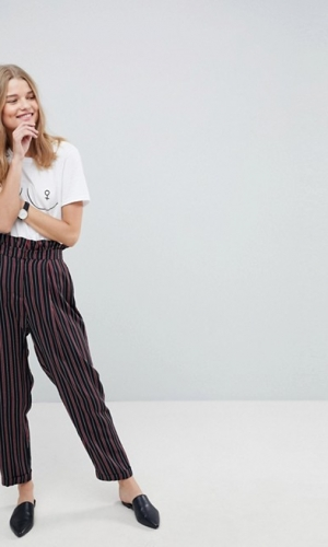 ASOS Tailored Tapered Trouser With Ruffle Paperbag Waist In Stripe