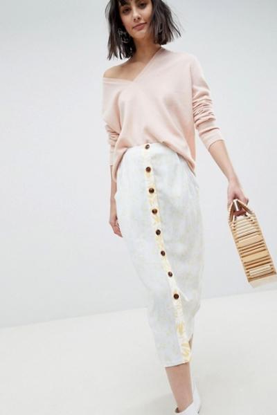 ASOS WHITE Mixed Print Button Down Co Ord Skirt