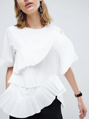 ASOS WHITE Pleated Frill Top