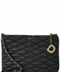 DKNY Black Quilted Leather Cross Body Bag