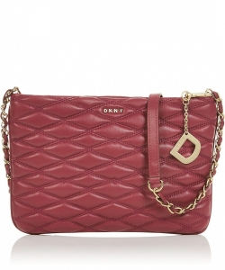 DKNY Lara Top Zip Diamond Quilted Cross Body Bag Red