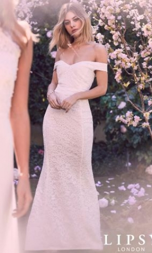 Lipsy Bridal Lace Bardot Maxi Dress