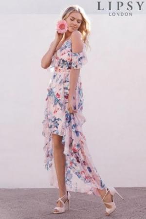 Lipsy Loves Kate Print Frill Hi Low Dress