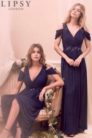 Lipsy Samantha Floral Trim Cold Shoulder Maxi Dress 2