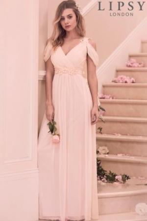 Lipsy Samantha Floral Trim Cold Shoulder Maxi Dress