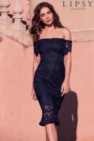 Lipsy VIP Lace Flippy Hem Bardot Dress