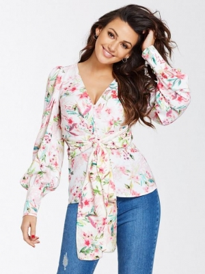 Michelle Keegan Printed Tie Blouse