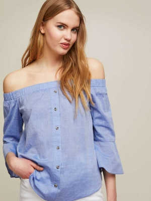Miss Selfridge Blue Button Detail Bardot Top