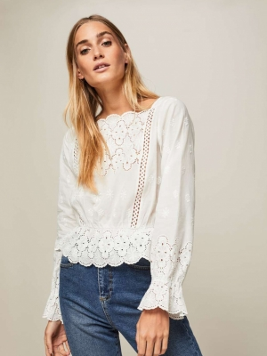 Miss Selfridge Ivory Isabel Lace Blouse