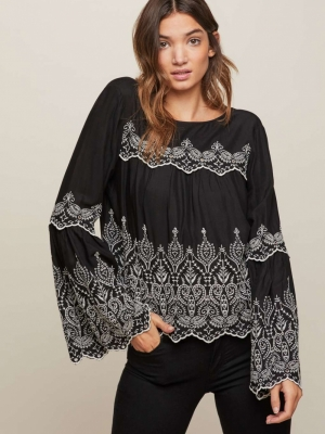 Miss Selfridge Schiffley Flute Sleeve Blouse