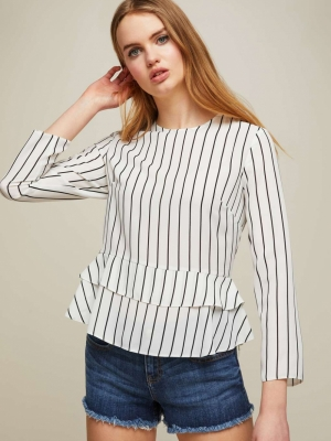 Miss Selfridge Striped Double Peplum Hem Blouse