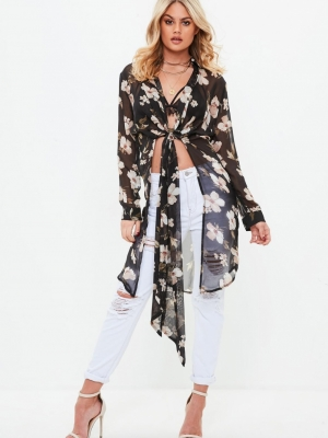 Missguided Black Floral Plunge Tie Front Blouse