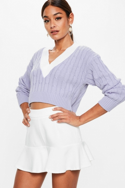 Missguided Lilac Cropped Knitted Cricket Jumper