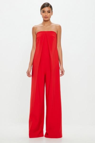 Missguided Peace + Love Red Bandeau Front Pleat Jumpsuit