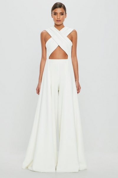 Missguided Peace + Love White Cross Over Drape Side Top