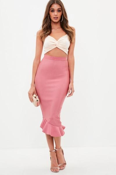 Missguided Pink Bandage Asymmetric Frill Midi Skirt