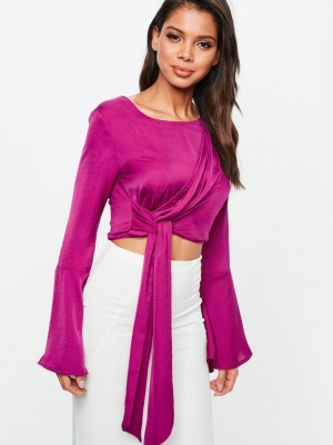 Missguided Purple Drape Long Tie Side Top