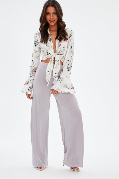 Missguided Purple High Waist Wide Leg Stretch Crepe Trousers