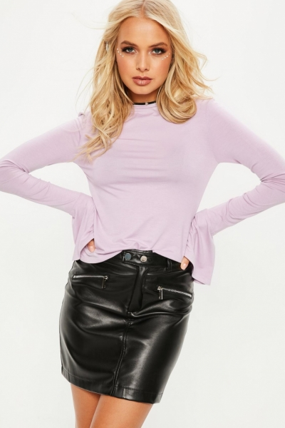 Missguided Purple Long Sleeve Flared Cuff T Shirt