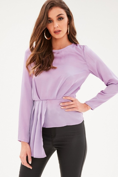 Missguided Purple Long Sleeve Tier Drape Front Blouse