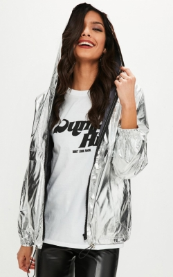 Missguided Silver High Shine Jacket
