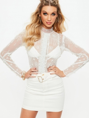 Missguided White Embellished High Neck Bodysuit