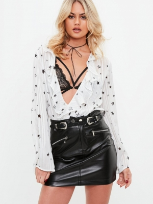 Missguided White Star Print Metallic Striped Bodysuit