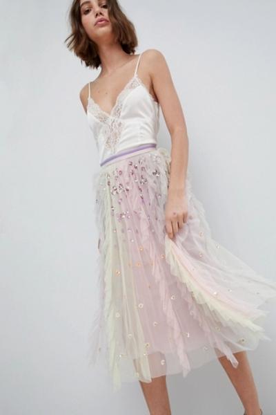 Needle & Thread Rainow Midi Skirt With Embellishment
