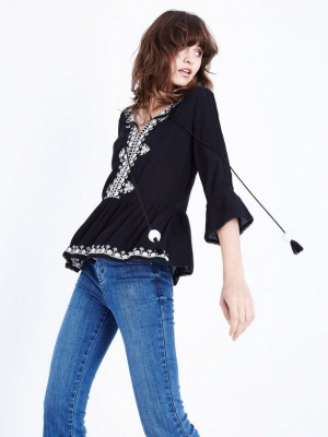 New Look Black Embroidered Pom Pom Tie Top