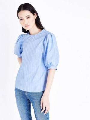 New Look Blue Stripe Puff Sleeve Top