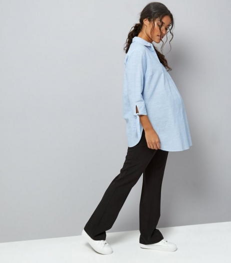 New Look Maternity Black Over Bump Wide Leg Trousers