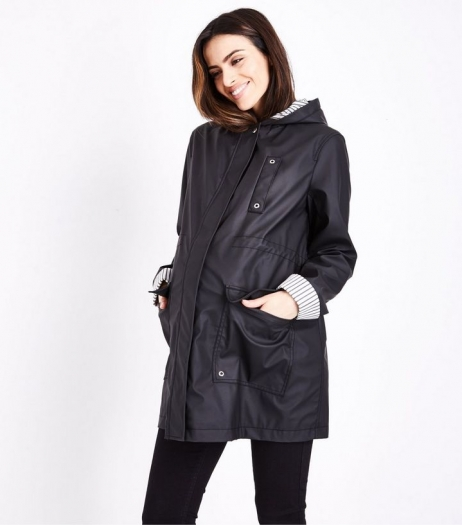 New Look Maternity Black Stripe Lined Anorak