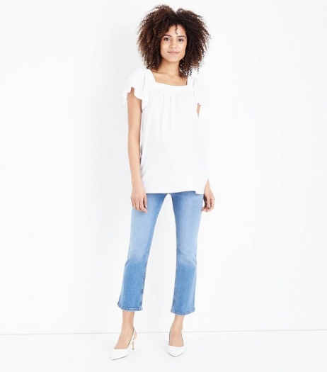 New Look Maternity Blue Over Bump Cropped Kick Flare Jeans