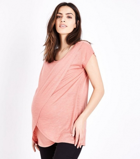 New Look Maternity Deep Pink Wrap Front Nursing T Shirt