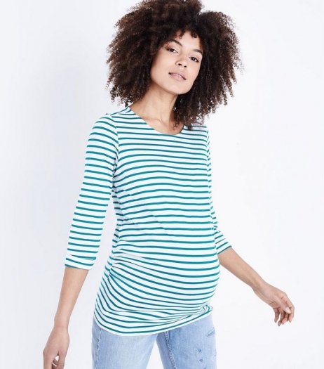 New Look Maternity Green Stripe 3 4 Sleeve T Shirt
