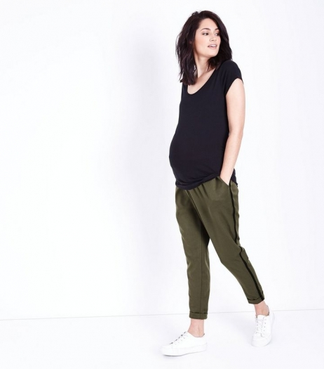 New Look Maternity Khaki Side Stripe Over Bump Trousers