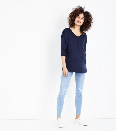 New Look Maternity Pale Blue Ripped Raw Hem Under Bump Skinny Jeans